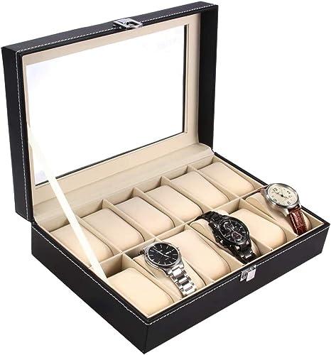 Ohuhu Coffret à Montres, Boite pour Montres et Bracelets, Coffret pour montres avec serrure boîte à montre,12 Slot Pr...