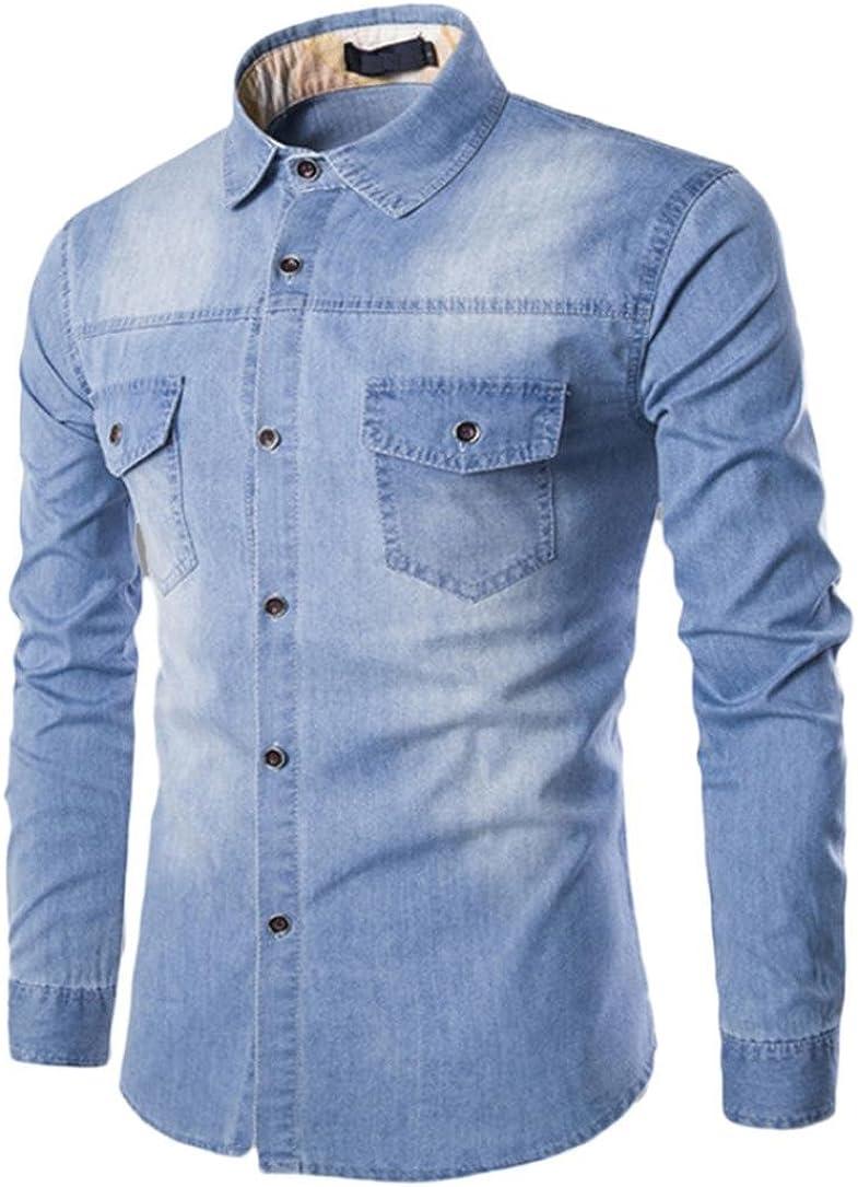 NREALY Men's Fall Casual Fashion Slim Fit Denim Cotton Long Sleeve Shirt Blouse