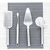 EINFAGOOD Pizza Cutters, Pizza Tool Sets Pizza Cutter Wheel, Pie Server, Cheese Grater and Peeler, Stainless Steel Polished 4 Pack (Pizza Tools)
