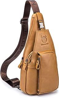 Men's Shoulder Bag, Popoti Sling Bag Backpack Leather Chest Bag Daypack Handbag Crossbody Messenger Bags Outdoor Hiking Travel Sports Bag (Brown)