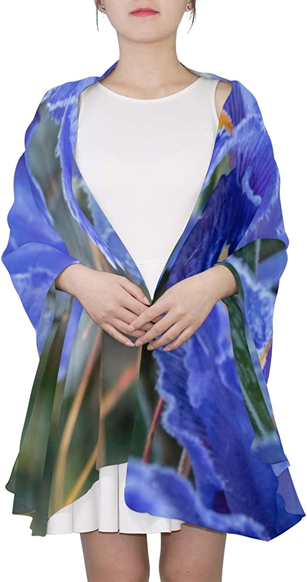 Blossoming Iris Flower In A Meadow Unique Fashion Scarf For Women Lightweight Fashion Fall Winter Print Scarves Shawl Wraps Gifts For Early Spring