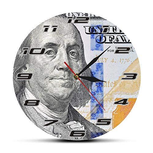 CVG Reloj de Pared con diseño de Dinero de Cien dólares, Reloj de Pared con diseño de Billetes de 100 dólares, Regalo para empresarios, Regalos para Hombres
