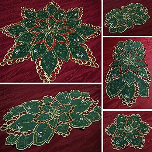 Quinnyshop Charmant chemin de table d'hiver vert avec broderie ajourée – Taille au choix (85 x 85 cm)