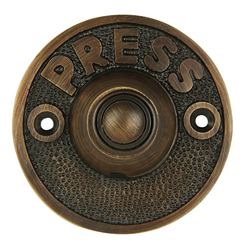 """Wired Brass Circular Doorbell Chime Push Button in Oil Rubbed Bronze Finish Vintage Decorative Door Bell with Easy Installation, 2 5/8"""" diameter"""