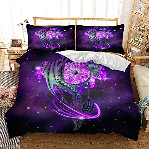 Dream Catcher Bedding Duvet Cover Set,Starry Galaxy Pterosaur Bedding Comforter Cover with Zipper,Include 2 Pillowcases