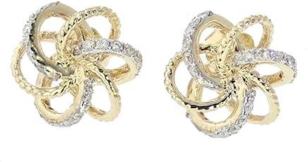 14K Gold Knot Earrings Diamond Knot Earrings for Women 11mm Round Studs 0.29ctw
