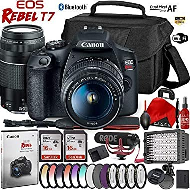Canon EOS Rebel T7 DSLR Camera with 18-55mm Lens - 24.1 MegaPixel - HD Video - Wi-Fi with 75-300mm Lens Video Kit