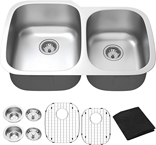 """popular Giantex Undermount Double Bowl Kitchen Sink lowest 60/40 2021 Wash Sink 16 Gauge Stainless Steel Dual Sinks with Accessories 9"""" Deep (32""""Lx21""""Wx9""""H) online"""