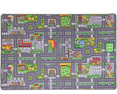 Ondis24 Kinder Spielteppich groß, Kinderteppich Straße Auto Design, Maße 200x140 cm, für Kinderzimmer