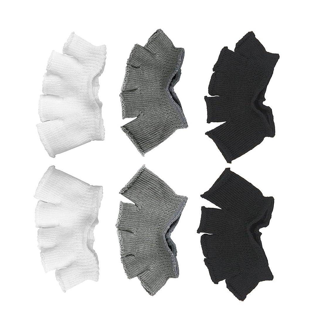 伝説型有名Footful 5本指カバー 爽快指の間カバー 3色(12枚入) 6ペア 男女兼用 足の臭い対策 抗菌 防臭 フットカバー ブラック/ホワイト/グレー