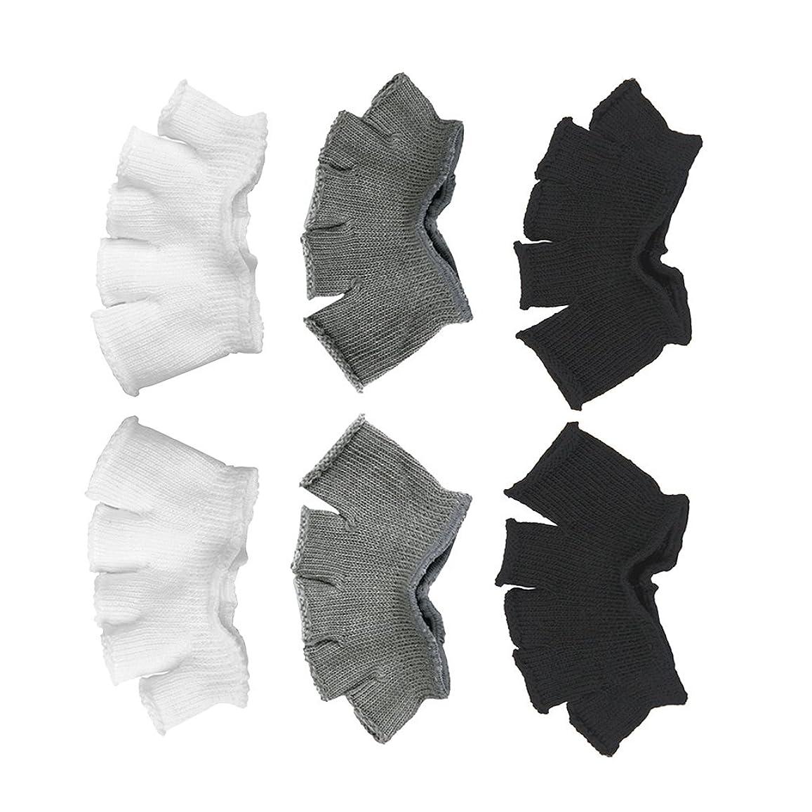 群れ犠牲もしFootful 5本指カバー 爽快指の間カバー 3色(12枚入) 6ペア 男女兼用 足の臭い対策 抗菌 防臭 フットカバー ブラック/ホワイト/グレー