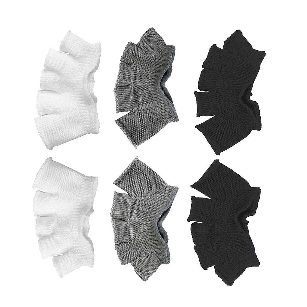 天文学ピアノを弾くプラスチックFootful 5本指カバー 爽快指の間カバー 3色(12枚入) 6ペア 男女兼用 足の臭い対策 抗菌 防臭 フットカバー ブラック/ホワイト/グレー