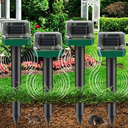 4 PCS Repellente Solare Ultrasuoni, Solare Repellente Zanzare, Repellente Solare per Talpe, Repellente Solare, IP65 Impermeabile, per Giardino Anti-Talpe, Arvicola, Gopher, Topi e ratti, Serpent