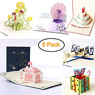 ENINFUT 6 Pcs 3D Pop Up Cards, Birthday Cards, Greeting Cards, Flower Cards, Teacher's Day Cards, Ferris Wheel Cards, Carousel Cards, Airplane Cards, Laser Cut Gift Card with Envelopes all Occasions