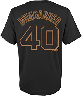 Majestic Madison Bumgarner Youth San Francisco Giants Black Name and Number Jersey T-Shirt
