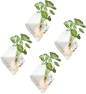 Mkono 4 Pack Wall Hanging Plant Terrarium Indoor Glass Planter for Home Decor, Diamond Shape