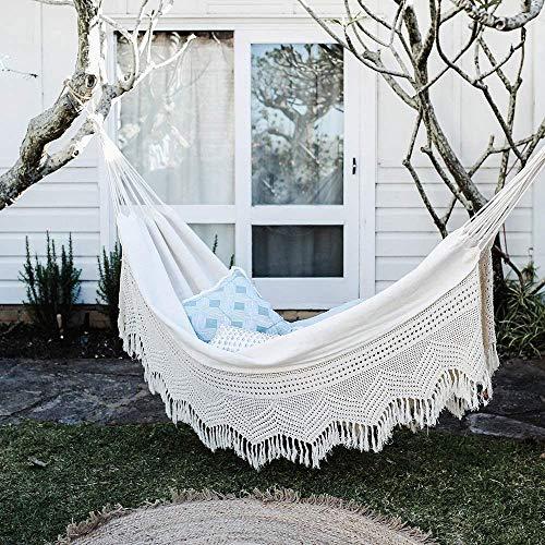 The Garden Hammocks® Hamac en coton bio avec crochet, tissu GOTS, double (335 x 130 cm) pour la maison, la terrasse, le jardin, le camping, la plage et les loisirs dans la cour