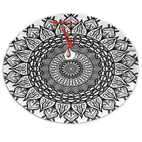 SoSung Christmas Tree Skirt Hand Drawn Mandala in arabicislam and Ottoman Christmas Tree Mat for Xmas Party Decoration 36'