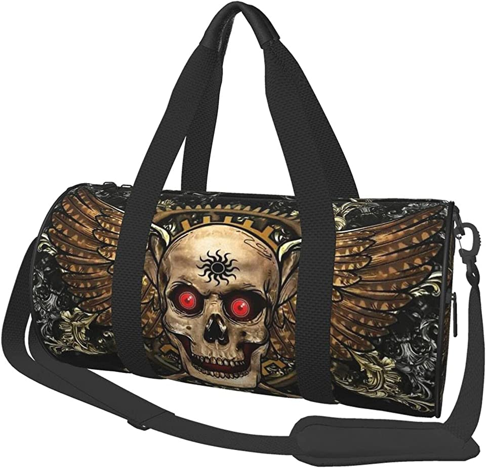 P.X.M.E. Travel Bags Viking Skull Lightweight Foldable Duffel Bag Gym Bag for Gym Sports and Overnight,Unisex