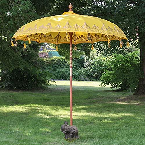 Oriental Galerie XXL Bali Sonnenschirm Balinesischer Schirm Garten Baumwolle Sonnenschutz Handarbeit Retro Vintage Dekoschirm 2-teilig ca. 220 Ø cm Gelb Gold Bemalung