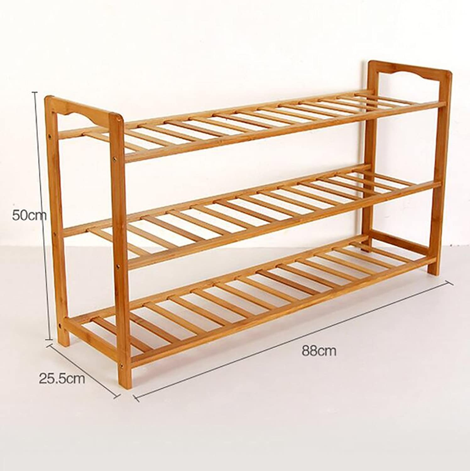 shoes Bench Organizing Rack Bamboo Simple shoes Rack Multi - Storey Dormitory shoes Frame Economic Home Assembly dust - Proof Solid Wood shoes Rack (color   1, Size   88cm)