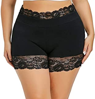 Women Pants Wintialy Womens Plus Size Mid Waist Lace Hot Shorts Elastic Sports Pants Trousers Trunks