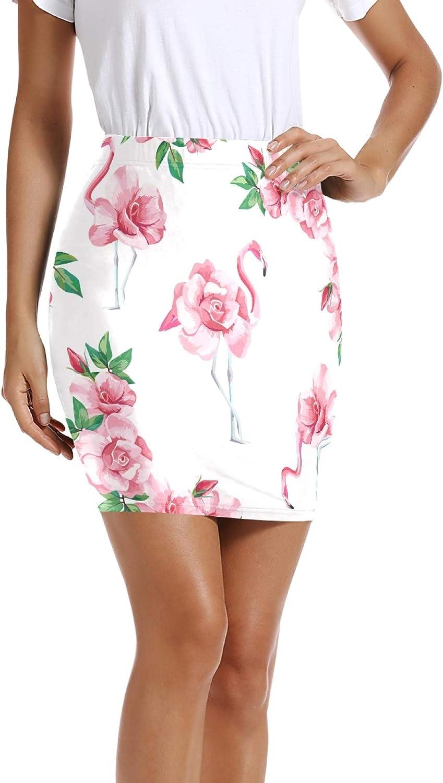 ALAZA Rose Floral Flamingo Bird Women Short Skirts Mini Pencil Waist Above Knee Bodycon Skirt