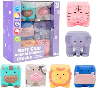 Dorakitten Baby Block Toy Soft Animal Shapes Stacking Building Block Squeeze Block Toy Teether Educational