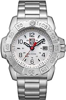 Luminox Mens Watch Navy Seal Steel 3258: 45mm Silver, Black Dial Steel Bracelet 200 M Water Resistant