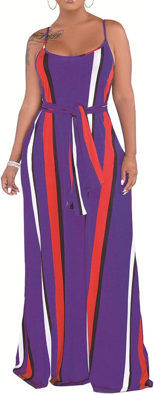 WIWIQS Women Casual Sexy Summer Stripe Bodycon Long Maxi Dresses Floor Length Sleeveless Plus Size Sundresses