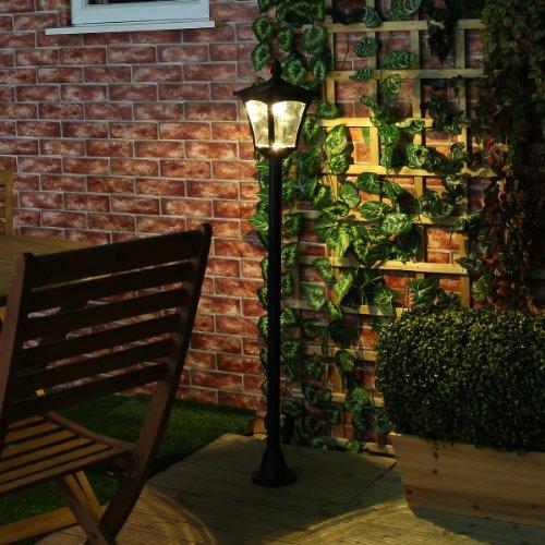 Festive Lights Lampadaire Solaire LED Noir Éclairage Blanc Chaud 120cm pour Jardin, Entrées, Chemins (Pile Rechargeable Incluse) - Ecologique et Economique Été comme Hiver