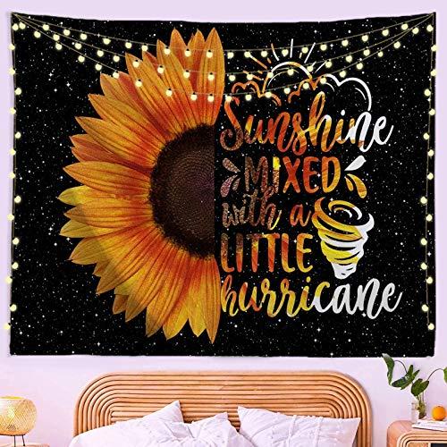 N/A Decoración De Tapices Impresión 3D Girasoles Pared Floral Flor Amarilla Cielo Arte Colgante De Pared Grande con Citas Niña Dormitorio Decoración del Dormitorio (130 X 150 Cm)