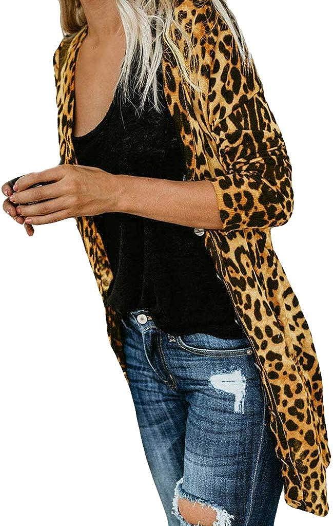 F_Gotal Women Long Sleeve Open Front Leopard Button Down Knit Ribbed Cardigan Oversized Long Warm Sweaters Coats Outwear