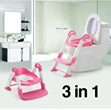 Aitsite Potty Training Seat with Non-Slip Ladder Step Soft Cushion Handle for Kids Babies Toddlers