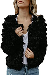 Womens Open Front Faux Fur Cardigan Vintage Parka Shaggy Jacket Coat