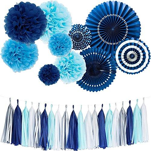 Monkey Home - Kit de borlas, abanicos , pom poms y flecos de papel de seda para decoración de fiestas, bodas, festivales, etc.