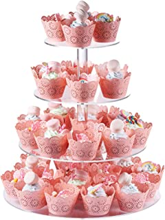 Cupcake Stand 15.7 x15 Inch, 25% Wider 4-Tier Round Acrylic Cupcake Stand Dessert Display Tower With Round Foot Support For Wedding Birthday Party