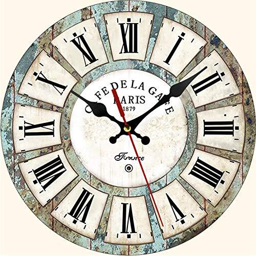 DFGSAA Relojes de Estilo Europeo de Moda Reloj de Madera Creativo Personalizado Sala de Estar Dormitorio decoración Retro Reloj de Pared Redondo 12 Pulgadas-6 #