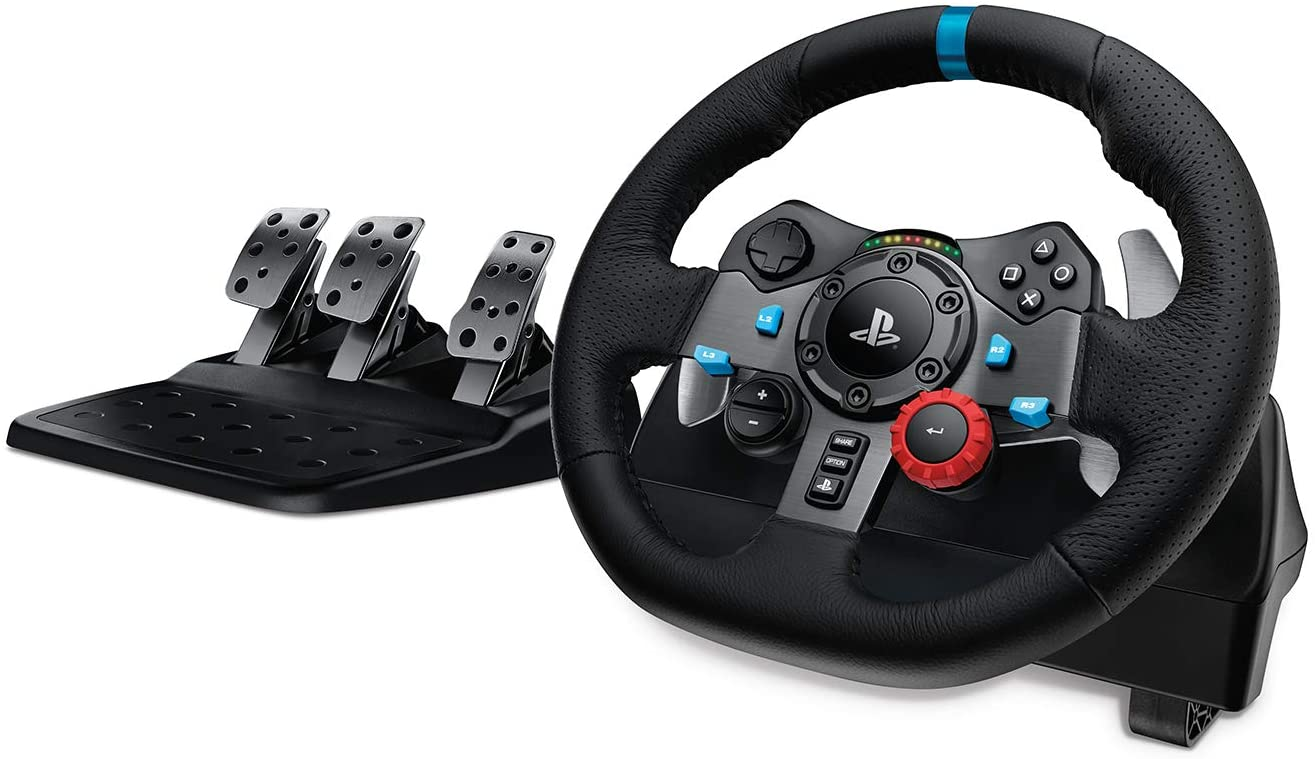Logitech G Dual-Motor Feedback Driving Force G29 Gaming Racing Wheel with Responsive Pedals for PlayStation 5, PlayStation 4 and PlayStation 3 - Black