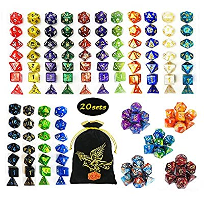 QMAY Polyhedral Dice,DND Dice Set Double-Colors DND Dice Role Playing Dice for Dungeon and Dragons Table Games from QMAY