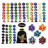 QMAY DND Dice Set, 140PCS Polyhedral Game Dice, 20 Color Colors DND Dice Role Playing Dice Complete with for Dungeon and Dragons RPG MTG Table Games Dice D4 D8 D10 D12 D20