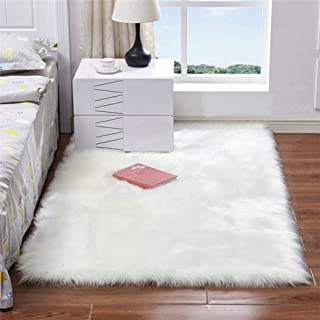 Sabull Long Faux Fur Wool Fluffy Carpets for Living Room Plush Chair Seat Cover Area Rug Bedroom Carpet