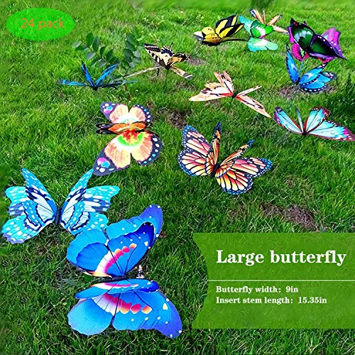 decorative garden stakes FENELY Giant Butterfly Garden Stakes Decorations Outdoor 3D Butterflies Lawn Decorative Yard Decor Patio Accessories Ornaments PVC Gardening Art Christmas Whimsical Gifts (Pack of 24)