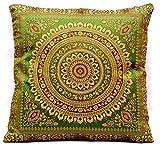 Kashmir Handicrafts Indische Banarasi Seide froschgrün Deko Kissenbezüge 40 cm x 40 cm,...