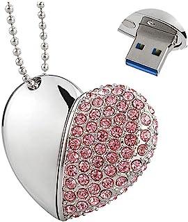 EcooDisk 64GB USB 3.0 Flash Drive Diamond Heart Shape Zip Drive Jewelry Necklace Memory Stick High Speed Thumb Drive Cute ...