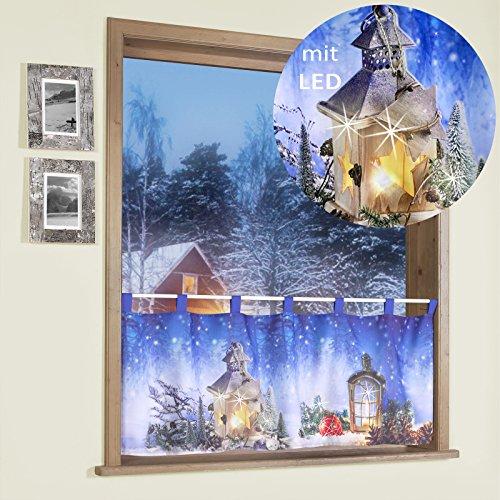 heimtexland Scheibengardine mit LED Beleuchtung Fotodruck Weihnachten 45x120 cm Weihnachtsgardine beleuchtet Bistrogardine mit Schlaufen Weihnachtslaterne ÖKOTEX Gardine Typ497