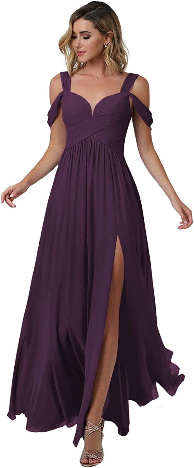 HedyDress 安い 激安 プチプラ 高品質 Women's Off スピード対応 全国送料無料 Shoulder Bridesmaid Simp Slit with Dresses
