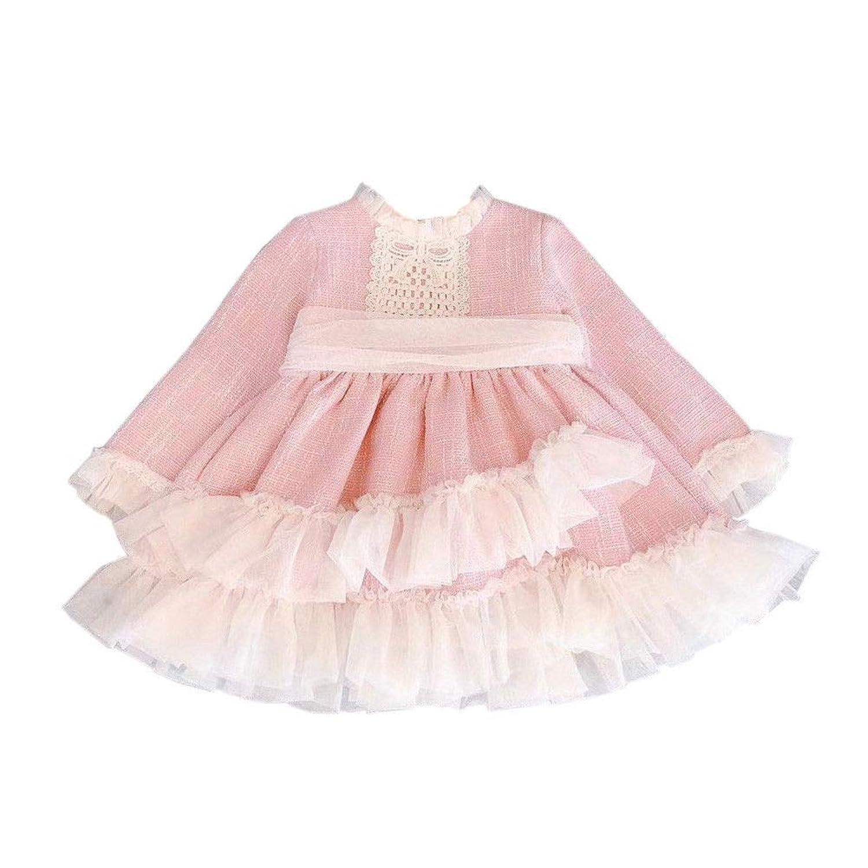 Hzjundasi 子供服 チュチュドレス ガール レース チュール 可愛い リボン付 長袖 プリンセスドレス 誕生日パーティー フォーマル 結婚式