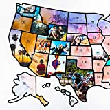 US Photo Map – 24 x 36 inch Light Watercolor United States Travel Memory Map – Personalize with Photos of the States You've Been To - Includes Cutting Stencils and Photo Cropping Website Access