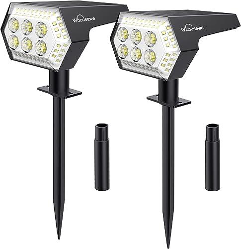 2 Pack 108 LED Spot Solaire Exterieur, Whousewe Lampes Solaires Etanche IP65 Projecteur Solaire Exterieur 4 Modes Dte...